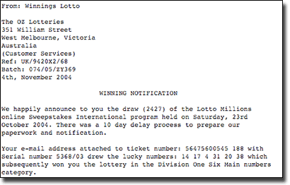 Online lottery scam email