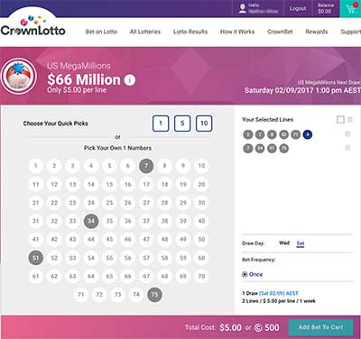 CrownLotto betting interface