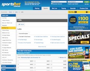 Lotto betting platform at Sportsbet
